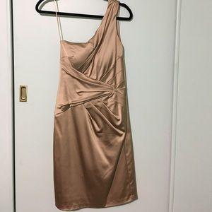 Cache Dresses & Skirts - Cache Size 10 Gold One Shoulder Dress