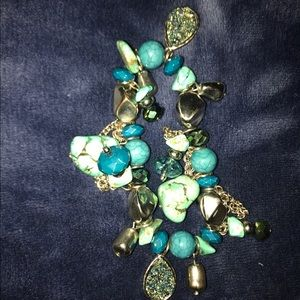 Turquoise and silver beaded stretchy  bracelet