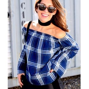 Cloth & Stone Blue Plaid Off The Shoulder Top