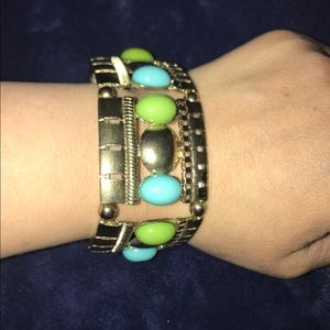 Gold/turquoise/green beaded stretchy bracelet