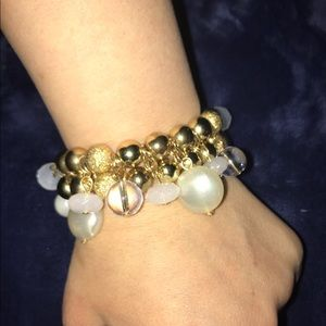 Gold and pearl iridescent bracelet