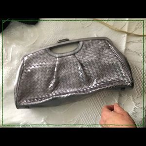 Elliott Lucca metallic grey clutch