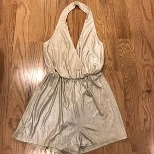 Misguided Nude metallic pleat wrap romper size 4