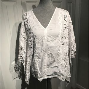 Bailey 44 Tops - White with lace batwing top size L