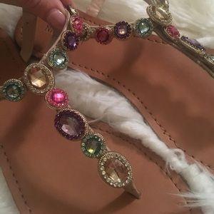 30a677c3f Nine West Shoes - Jewel Rhinestone Multicolor Flat Sandals Nude