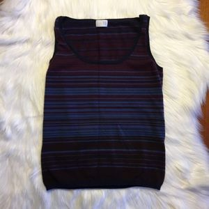 TSE Tops - TSE Multi Colored Striped Cashmere Tank Top