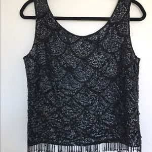 SUMMER SALE  Vintage Sequin Beaded Top in Black