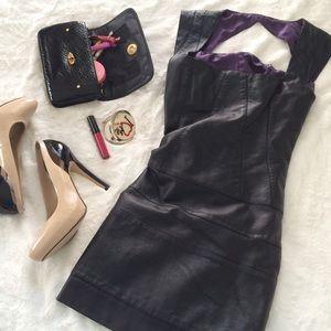 Faux Leather Bodycon Dress, Black
