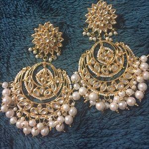 "Long kundan Earrings , Brand New, Indian style, 9"""