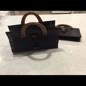 ONLY 1 LEFT!! Bamboo purse coconut clasp