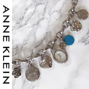 Anne Klein Accessories - Anne Klein Silver Watch Floral Charm Bracelet
