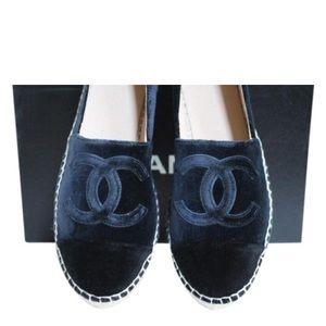 Chanel velvet navy black espadrille Sz 40