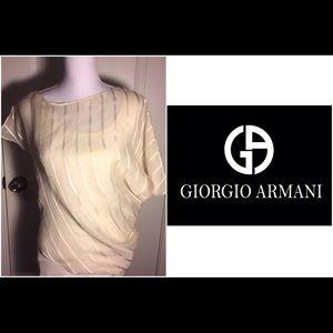 Giorgio Armani Tops - SALE🔥Giorgio Armani cream 100% silk blouse