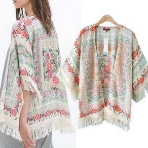 ROMWE Tops - ROMWE Tassels Floral Print Loose Kimono Lg NWOT