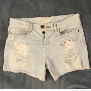 Current/Elliott Pants - Current Elliott Boyfriend Distressed Jean Shorts