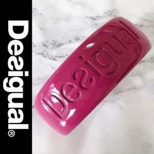 Desigual Jewelry - Desigual Raspberry Logo Resin Bangle Bracelet NWOT