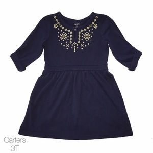 Carters Navy Blue Embroidered Neon Green Dress 3T