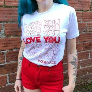 "Tops - ISO ""I love you"" thank you bag logo shirt! ❤️❤️"
