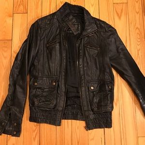 Zara genuine leather bomber jacket size M