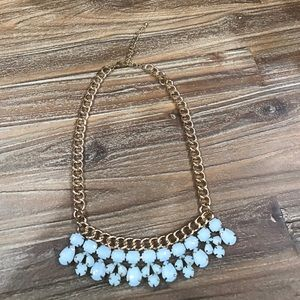 Precious Baby Blue Jeweled Statement Necklace