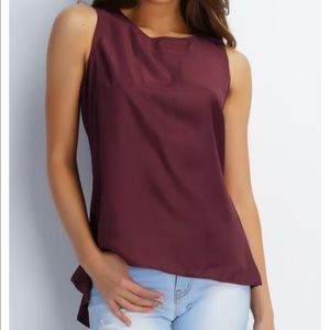 Want My Look Tops - High Low Whitney Top - Burgundy