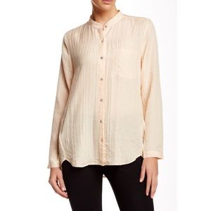 Eileen Fisher Tops - Eileen Fisher Mandarin-collar Silk-blend Shirt