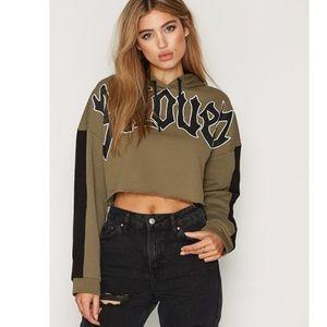 Topshop Tops - TopShop UK Beloved Sweatshirt Cropped Hoodie Top S