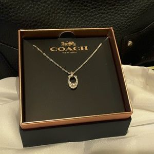 "Coach Jewelry - Coach Pave Signature ""C"" Charm Necklace NWT"