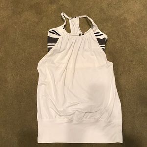 LULULEMON Striped Sports Bra White Tank 4
