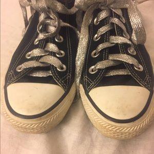 Converse Shoes - OG Black Unisex Converse Size 4 w/ Silver Laces