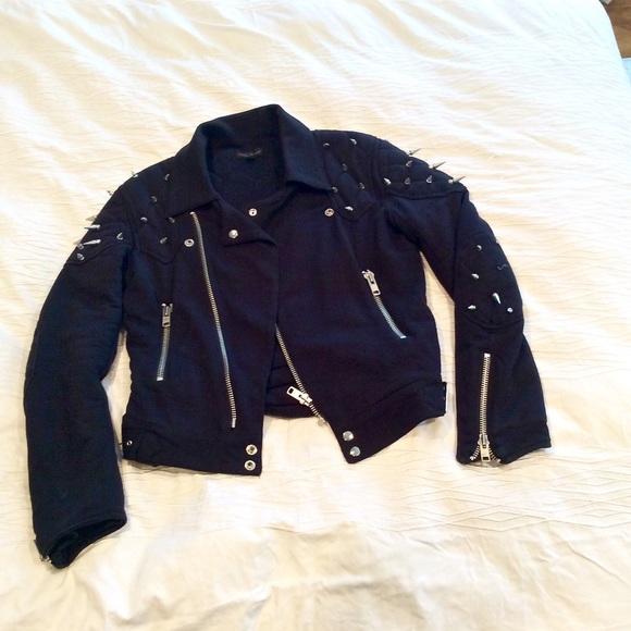 Topshop Jackets & Blazers - ASHISH FOR TOPSHOP BLACK SPIKED BIKER JACKET