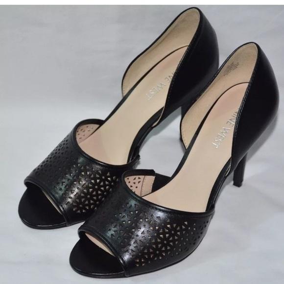 nine west nine west black heels shoes slip on size 7