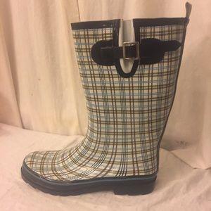 Shoes - Final price! Plaid Rain boots Size 10