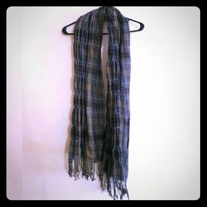 Collection XIIX Accessories - Collection XIIX Blue Plaid Scarf/Shawl with Fringe