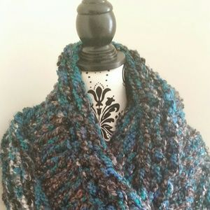 Beautifully hand knitted one of a kind cowl scarf