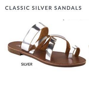 Fabfindz Shoes - Silver Metallic Sandals