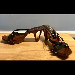 Shoes - Fabulous Polished Wood Slides from Italy!! NEW!!