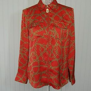 MICHAEL KORS red silky shirt blouse as. S like new