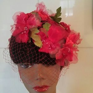 Vintage Accessories - Vintage Red Floral Band with Veil