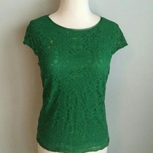 Sophie Max Tops - Sophie Max Green lace cap sleeve top