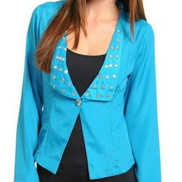 Jackets & Coats - Blue single button blazer with studs - size Lg