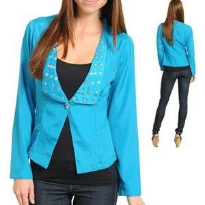 Jackets & Blazers - Blue single button blazer with studs - size Lg
