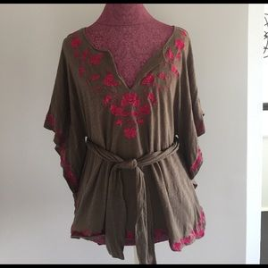 Anthropologie Tops - Anthropologie C. Kerr Floral Kimono Belted Tunic