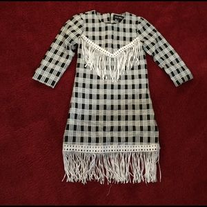 Style Mafia Plaid Black and White Fringe Dress