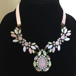 Pastel Crystal Statement Bib Necklace