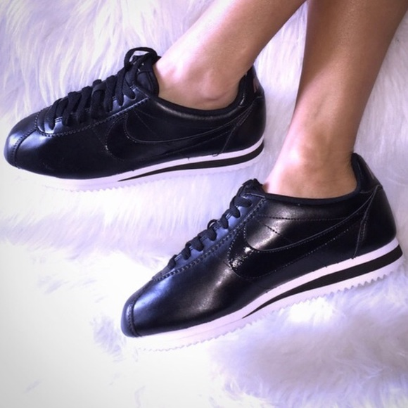 newest e5073 12497 Nike Cortez Patent Black and Rose Gold
