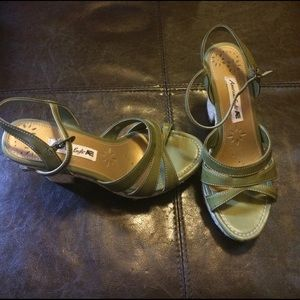American Eagle by Payless Shoes - American eagle olive strapped wedge size 6.5