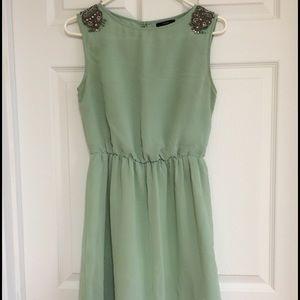 Seafoam green dress w/ sequined shoulder (s)