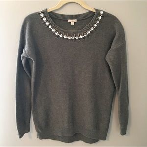 GAP Gray Sweater with Beaded Neckline - size small
