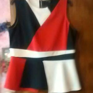 Cute red, black & white plume blouse